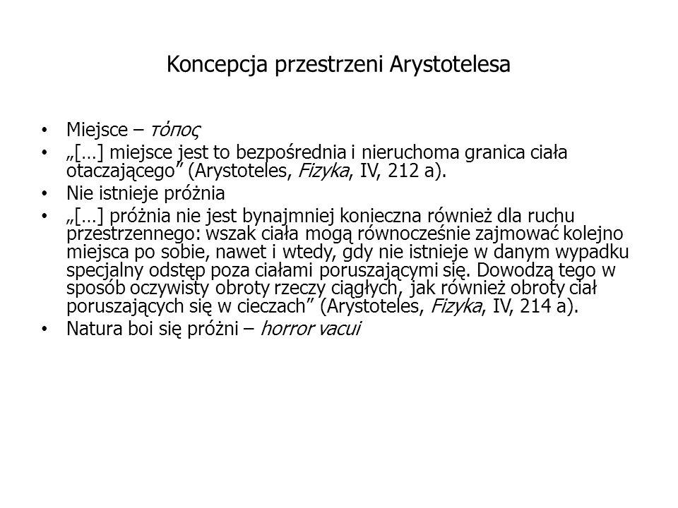 Koncepcja przestrzeni Arystotelesa Miejsce – τόπος […] miejsce jest to bezpośrednia i nieruchoma granica ciała otaczającego (Arystoteles, Fizyka, IV,