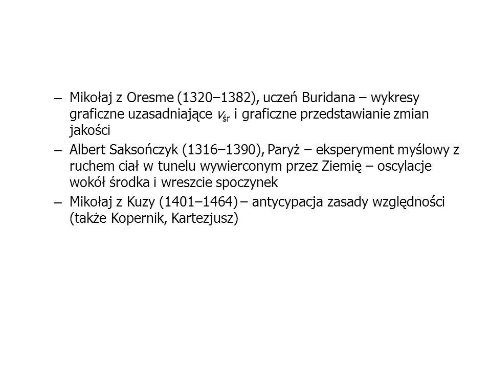 – Mikołaj z Oresme (1320–1382), uczeń Buridana – wykresy graficzne uzasadniające v śr i graficzne przedstawianie zmian jakości – Albert Saksończyk (13
