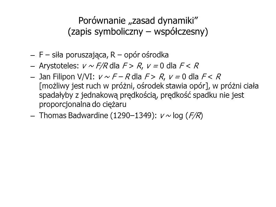 Porównanie zasad dynamiki (zapis symboliczny – współczesny) – F – siła poruszająca, R – opór ośrodka – Arystoteles: v ~ F/R dla F > R, v = 0 dla F < R
