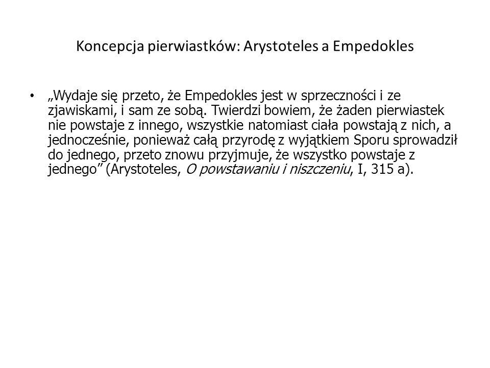 Koncepcja pierwiastków: Arystoteles a Empedokles Wydaje się przeto, że Empedokles jest w sprzeczności i ze zjawiskami, i sam ze sobą. Twierdzi bowiem,