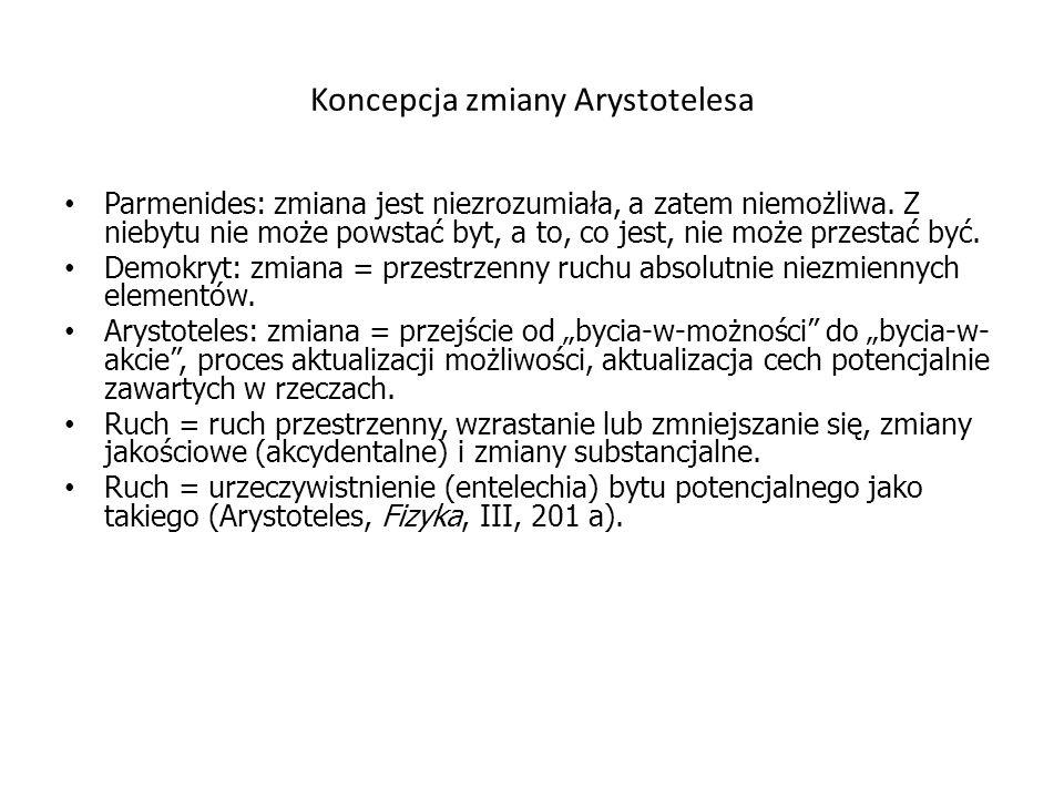 Koncepcja przestrzeni Arystotelesa Miejsce – τόπος […] miejsce jest to bezpośrednia i nieruchoma granica ciała otaczającego (Arystoteles, Fizyka, IV, 212 a).