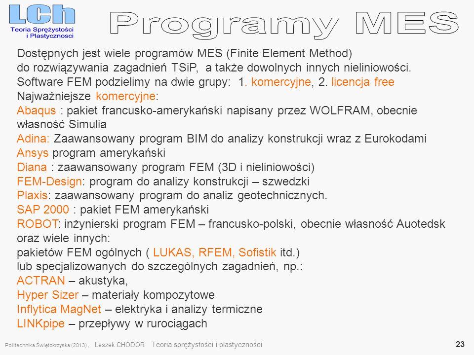 Dostępnych jest wiele programów MES (Finite Element Method) do rozwiązywania zagadnień TSiP, a także dowolnych innych nieliniowości. Software FEM podz