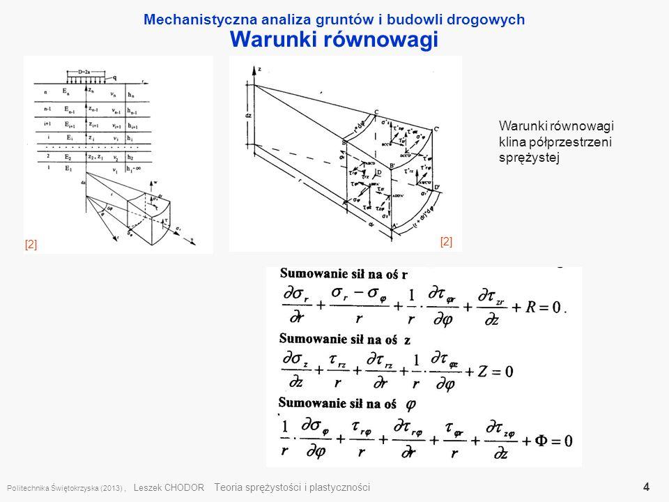 Mechanistyczna analiza gruntów i budowli drogowych Warunki równowagi Politechnika Świętokrzyska (2013), Leszek CHODOR Teoria sprężystości i plastyczno