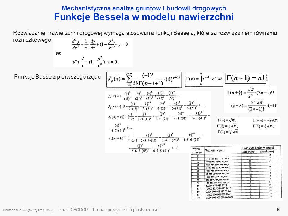 Mechanistyczna analiza gruntów i budowli drogowych Funkcje Bessela w modelu nawierzchni Politechnika Świętokrzyska (2013), Leszek CHODOR Teoria spręży