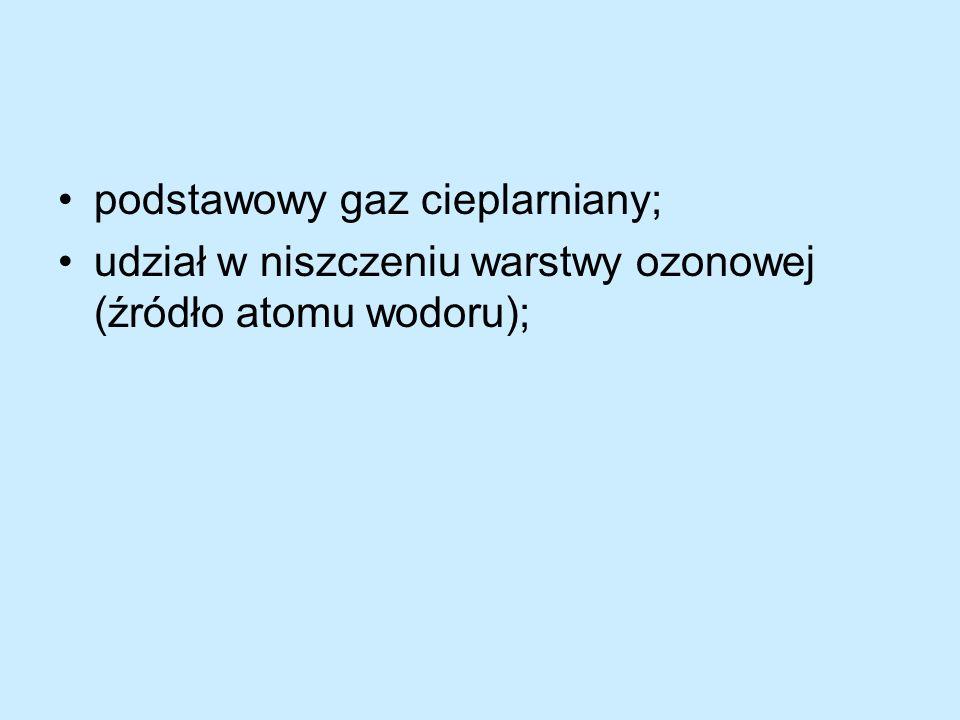 podstawowy gaz cieplarniany; udział w niszczeniu warstwy ozonowej (źródło atomu wodoru);