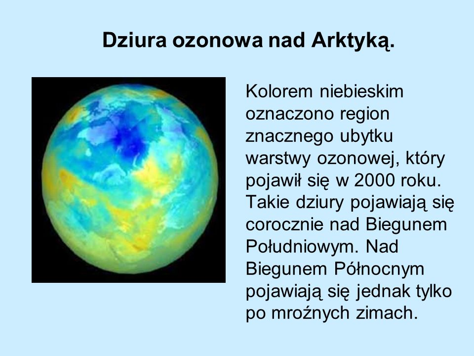 Kolorem niebieskim oznaczono region znacznego ubytku warstwy ozonowej, który pojawił się w 2000 roku. Takie dziury pojawiają się corocznie nad Biegune