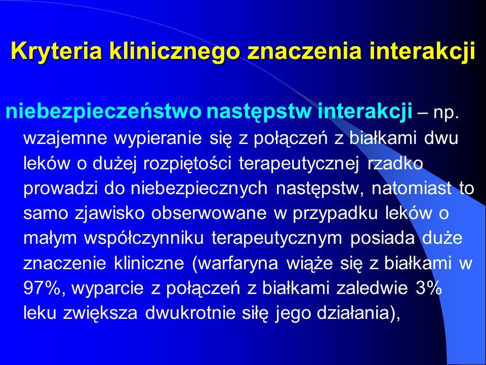 Kryteria klinicznego znaczenia interakcji niebezpieczeństwo następstw interakcji – np. wzajemne wypieranie się z połączeń z białkami dwu leków o dużej