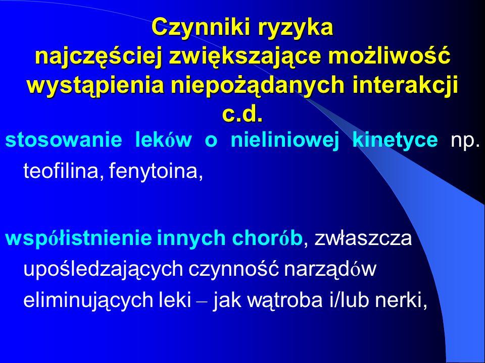 Czynniki ryzyka najczęściej zwiększające możliwość wystąpienia niepożądanych interakcji c.d. stosowanie lek ó w o nieliniowej kinetyce np. teofilina,