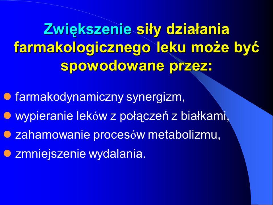 Zwiększenie siły działania farmakologicznego leku może być spowodowane przez: farmakodynamiczny synergizm, wypieranie lek ó w z połączeń z białkami, z
