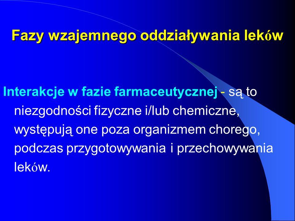 Fazy wzajemnego oddziaływania lek ó w Interakcje w fazie farmaceutycznej - są to niezgodności fizyczne i/lub chemiczne, występują one poza organizmem