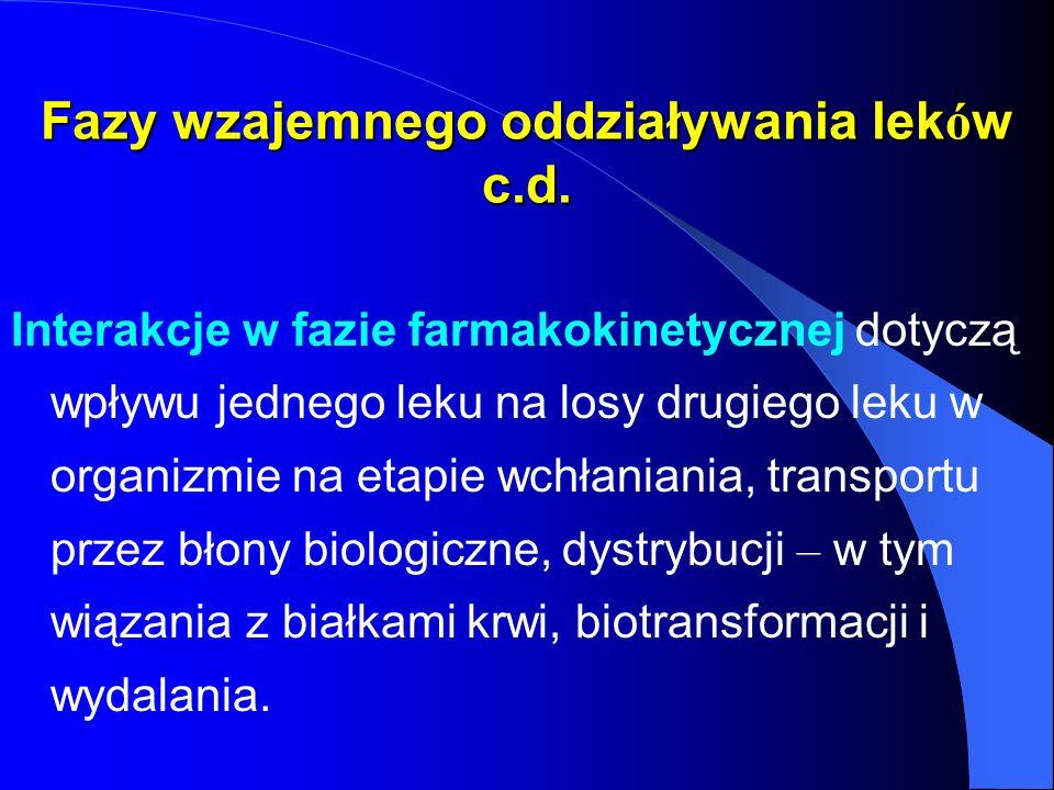 Fazy wzajemnego oddziaływania lek ó w c.d. Interakcje w fazie farmakokinetycznej dotyczą wpływu jednego leku na losy drugiego leku w organizmie na eta