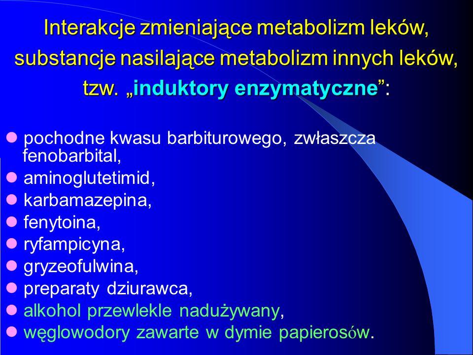 Interakcje zmieniające metabolizm leków, substancje nasilające metabolizm innych leków, tzw. induktory enzymatyczne: pochodne kwasu barbiturowego, zwł