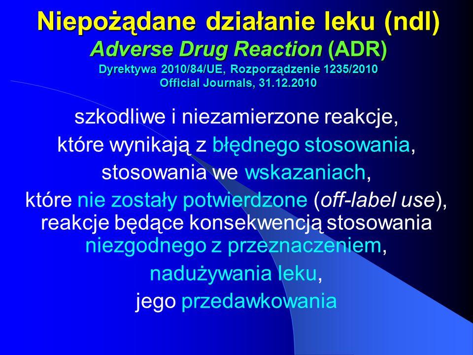Niepożądane działanie leku (ndl) Adverse Drug Reaction (ADR) Dyrektywa 2010/84/UE, Rozporządzenie 1235/2010 Official Journals, 31.12.2010 szkodliwe i