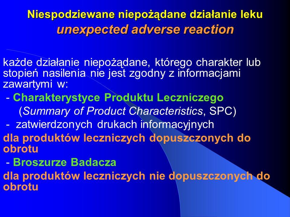 Niespodziewane niepożądane działanie leku unexpected adverse reaction każde działanie niepożądane, którego charakter lub stopień nasilenia nie jest zg