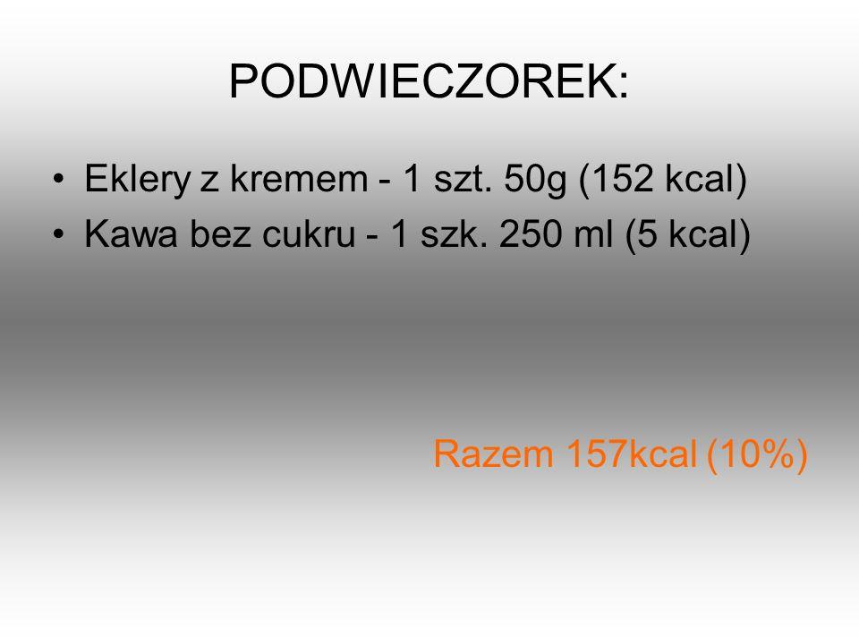 PODWIECZOREK: Eklery z kremem - 1 szt. 50g (152 kcal) Kawa bez cukru - 1 szk. 250 ml (5 kcal) Razem 157kcal (10%)