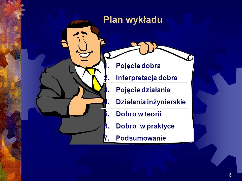 6 Plan wykładu 1.Pojęcie dobra 2.Interpretacja dobra 3.Pojęcie działania 4.Działania inżynierskie 5.Dobro w teorii 6.Dobro w praktyce 7.Podsumowanie