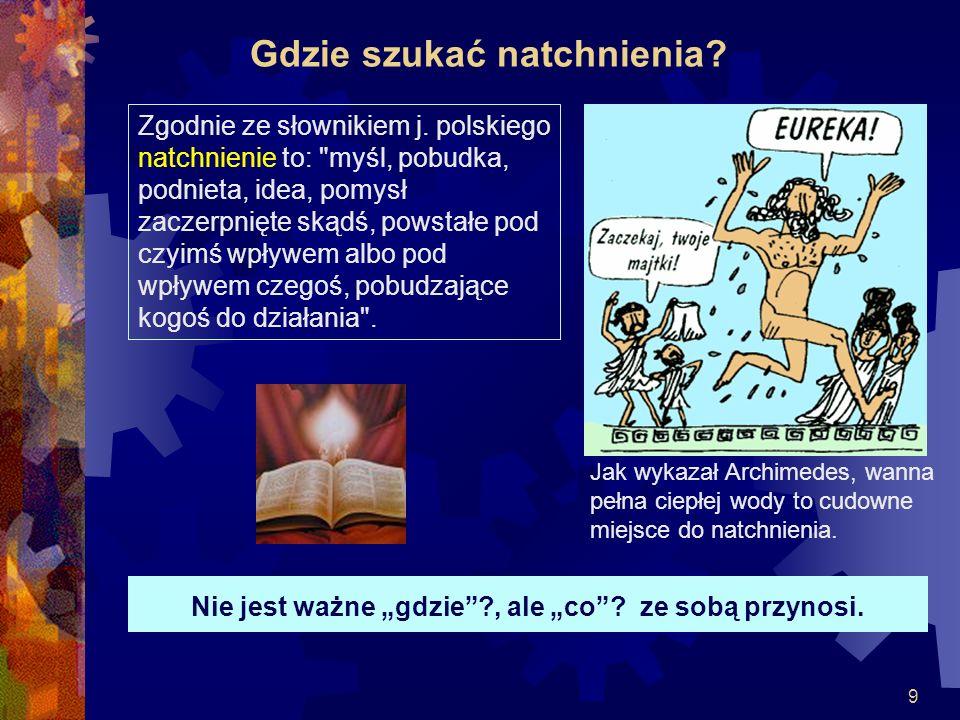 9 Gdzie szukać natchnienia? Zgodnie ze słownikiem j. polskiego natchnienie to: