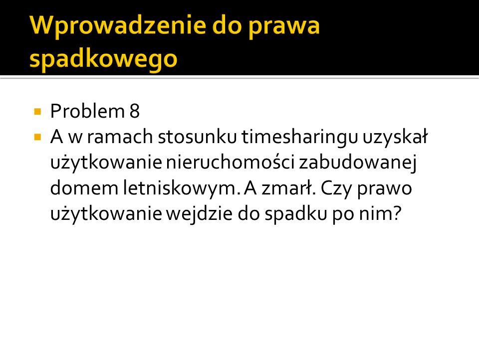 Problem 8 A w ramach stosunku timesharingu uzyskał użytkowanie nieruchomości zabudowanej domem letniskowym. A zmarł. Czy prawo użytkowanie wejdzie do