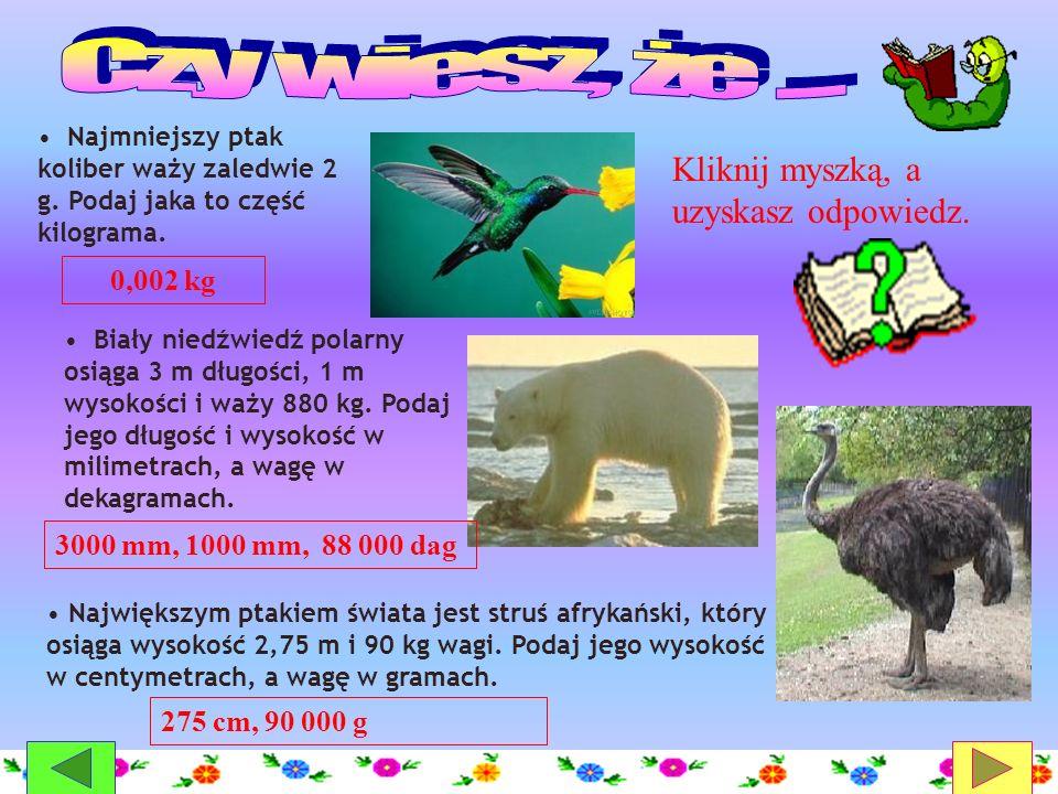 Biały niedźwiedź polarny osiąga 3 m długości, 1 m wysokości i waży 880 kg. Podaj jego długość i wysokość w milimetrach, a wagę w dekagramach. Najmniej