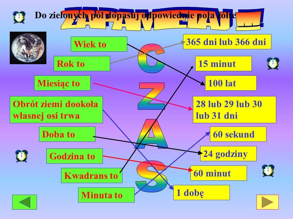 Obrót ziemi dookoła własnej osi trwa Doba to Godzina to Miesiąc to Minuta to Kwadrans to Rok to Wiek to 100 lat 365 dni lub 366 dni 28 lub 29 lub 30 l