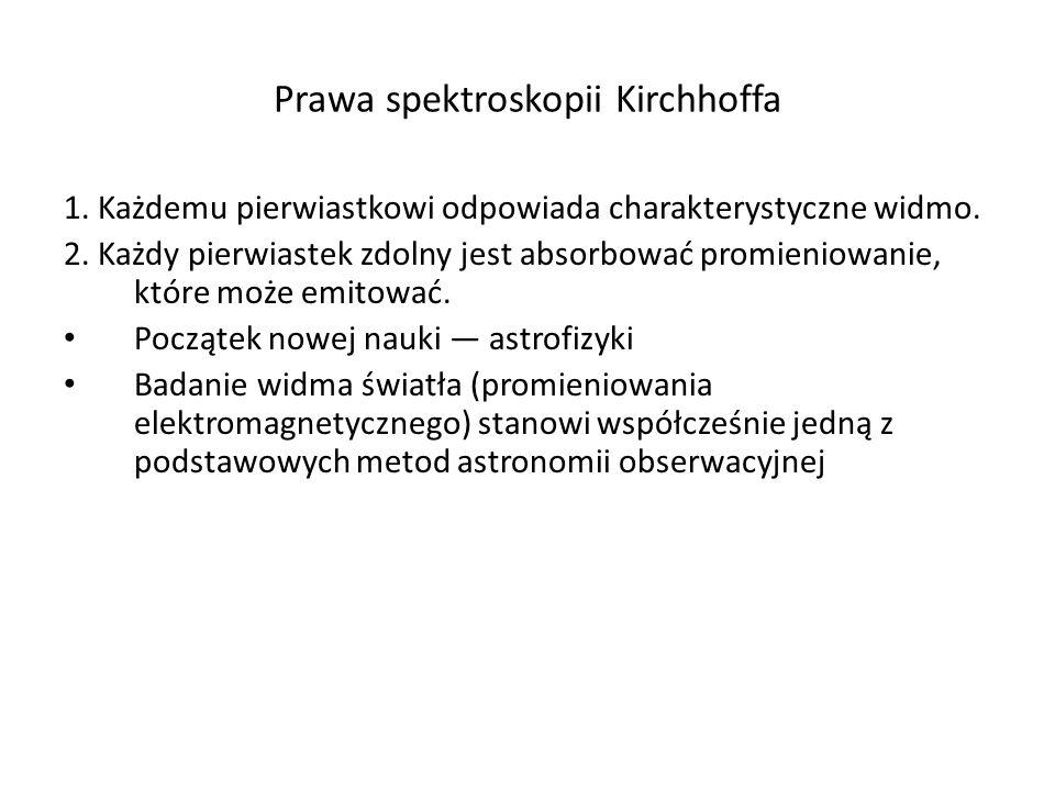 Prawa spektroskopii Kirchhoffa 1. Każdemu pierwiastkowi odpowiada charakterystyczne widmo. 2. Każdy pierwiastek zdolny jest absorbować promieniowanie,