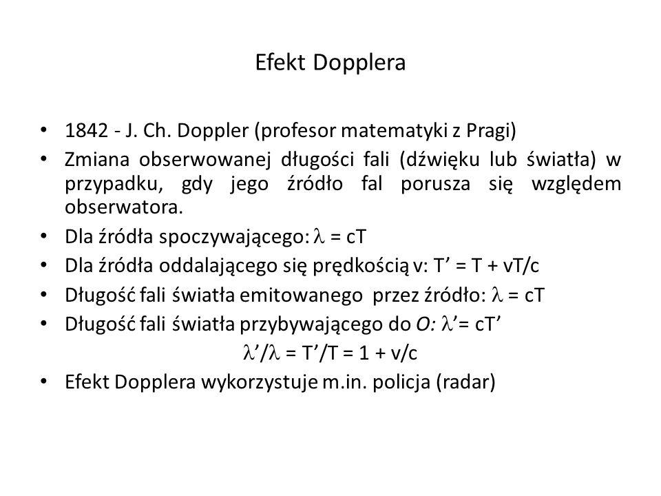 Efekt Dopplera 1842 - J. Ch. Doppler (profesor matematyki z Pragi) Zmiana obserwowanej długości fali (dźwięku lub światła) w przypadku, gdy jego źródł