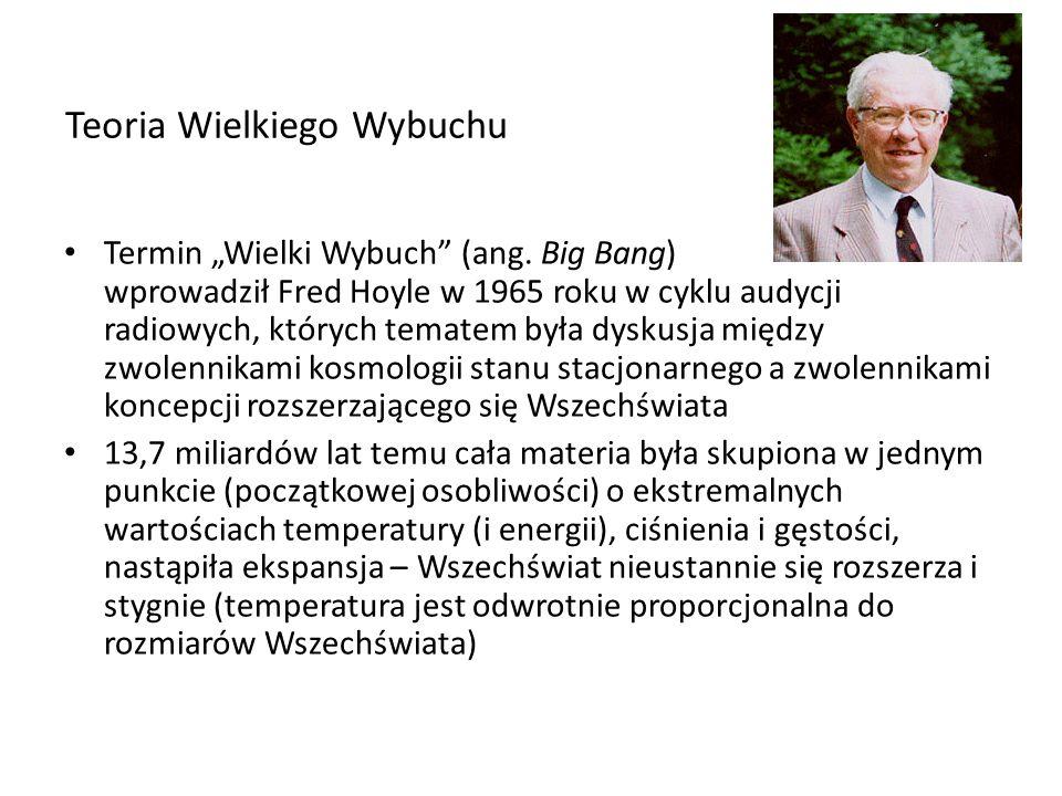 Teoria Wielkiego Wybuchu Termin Wielki Wybuch (ang. Big Bang) wprowadził Fred Hoyle w 1965 roku w cyklu audycji radiowych, których tematem była dyskus
