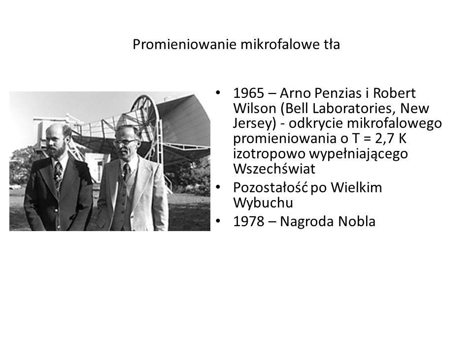 Promieniowanie mikrofalowe tła 1965 – Arno Penzias i Robert Wilson (Bell Laboratories, New Jersey) - odkrycie mikrofalowego promieniowania o T = 2,7 K