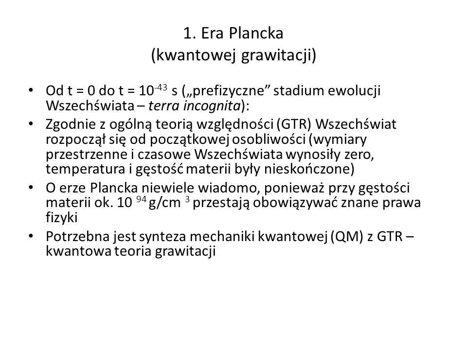 1. Era Plancka (kwantowej grawitacji) Od t = 0 do t = 10 -43 s (prefizyczne stadium ewolucji Wszechświata – terra incognita): Zgodnie z ogólną teorią