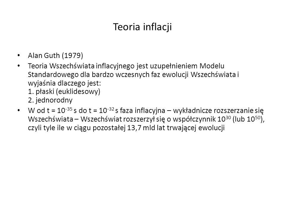 Teoria inflacji Alan Guth (1979) Teoria Wszechświata inflacyjnego jest uzupełnieniem Modelu Standardowego dla bardzo wczesnych faz ewolucji Wszechświa