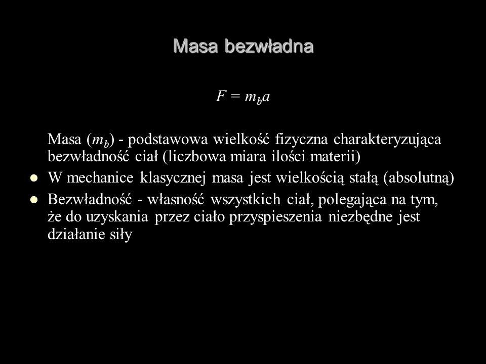 Masa bezwładna F = m b a Masa (m b ) - podstawowa wielkość fizyczna charakteryzująca bezwładność ciał (liczbowa miara ilości materii) W mechanice klas