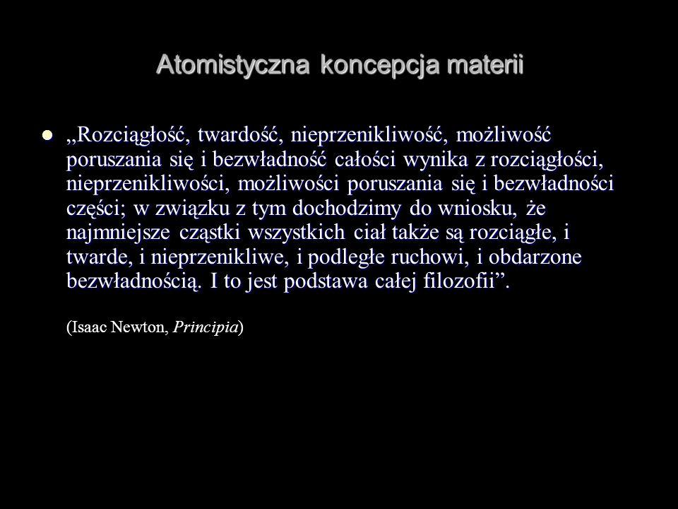 Atomistyczna koncepcja materii Rozciągłość, twardość, nieprzenikliwość, możliwość poruszania się i bezwładność całości wynika z rozciągłości, nieprzen