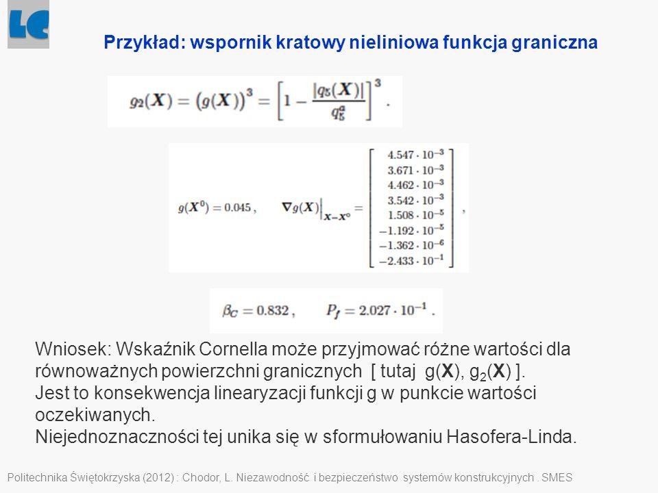 Politechnika Świętokrzyska (2012) : Chodor, L. Niezawodność i bezpieczeństwo systemów konstrukcyjnych. SMES Przykład: wspornik kratowy nieliniowa funk