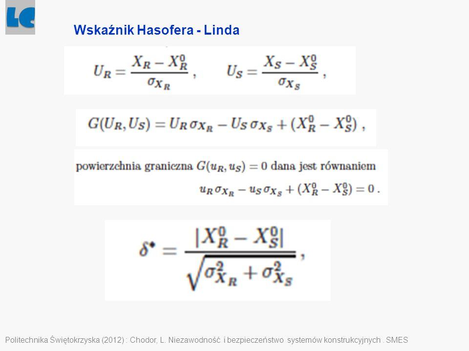 Politechnika Świętokrzyska (2012) : Chodor, L. Niezawodność i bezpieczeństwo systemów konstrukcyjnych. SMES Wskaźnik Hasofera - Linda