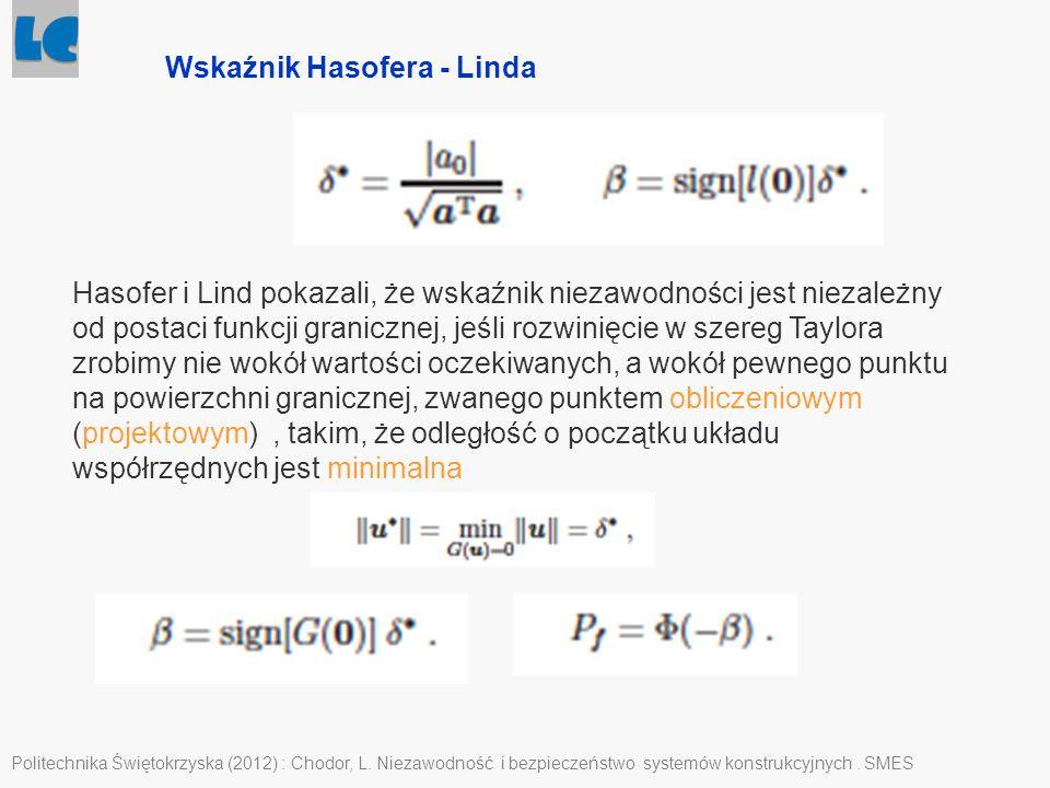 Politechnika Świętokrzyska (2012) : Chodor, L. Niezawodność i bezpieczeństwo systemów konstrukcyjnych. SMES Wskaźnik Hasofera - Linda Hasofer i Lind p