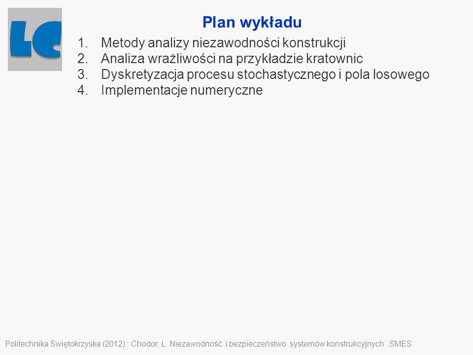 Plan wykładu Politechnika Świętokrzyska (2012) : Chodor, L. Niezawodność i bezpieczeństwo systemów konstrukcyjnych. SMES 1.Metody analizy niezawodnośc