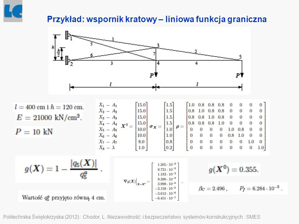 Politechnika Świętokrzyska (2012) : Chodor, L. Niezawodność i bezpieczeństwo systemów konstrukcyjnych. SMES Przykład: wspornik kratowy – liniowa funkc