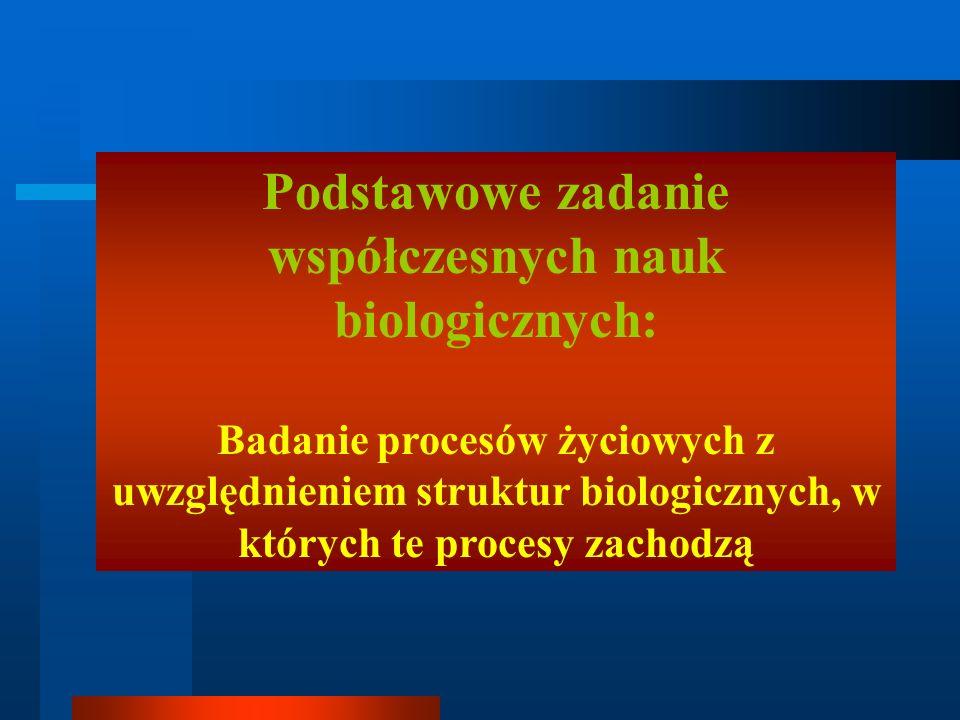 Podstawowe zadanie współczesnych nauk biologicznych: Badanie procesów życiowych z uwzględnieniem struktur biologicznych, w których te procesy zachodzą
