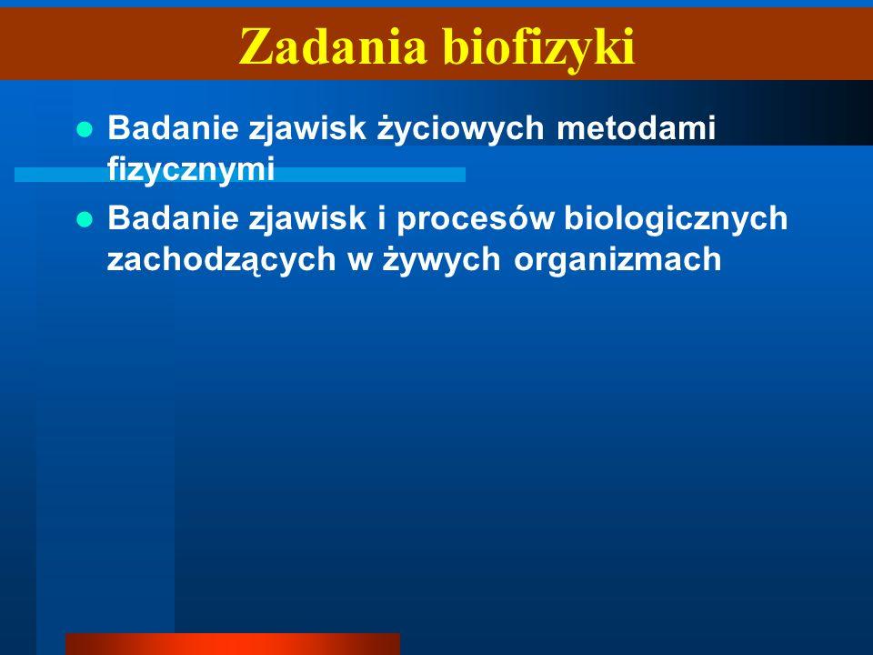 Badanie zjawisk życiowych metodami fizycznymi Badanie zjawisk i procesów biologicznych zachodzących w żywych organizmach