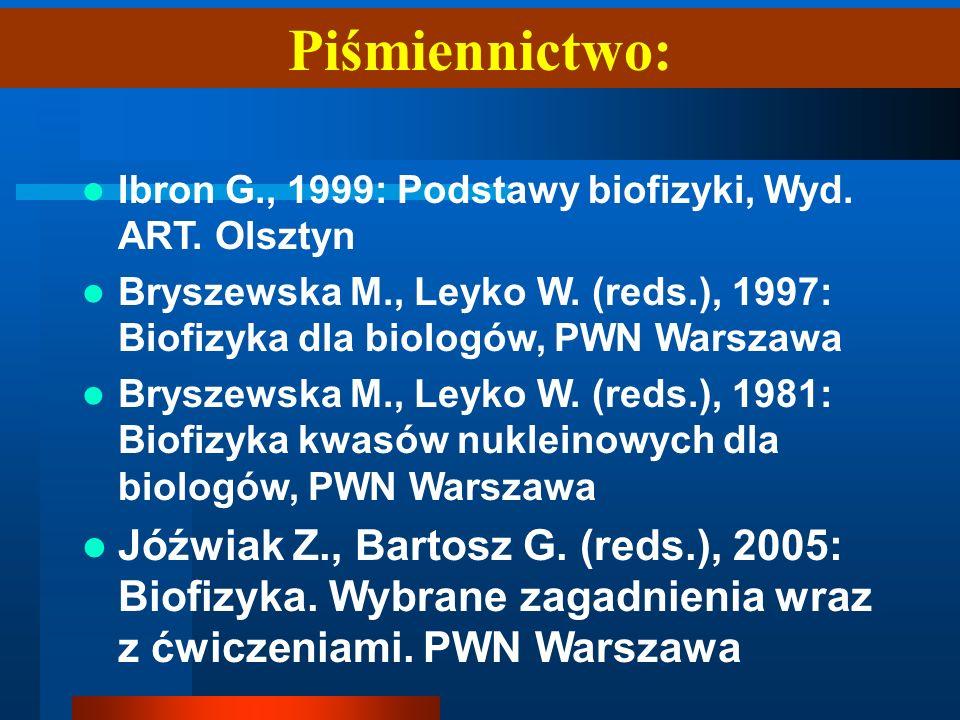 Piśmiennictwo: Ibron G., 1999: Podstawy biofizyki, Wyd. ART. Olsztyn Bryszewska M., Leyko W. (reds.), 1997: Biofizyka dla biologów, PWN Warszawa Brysz
