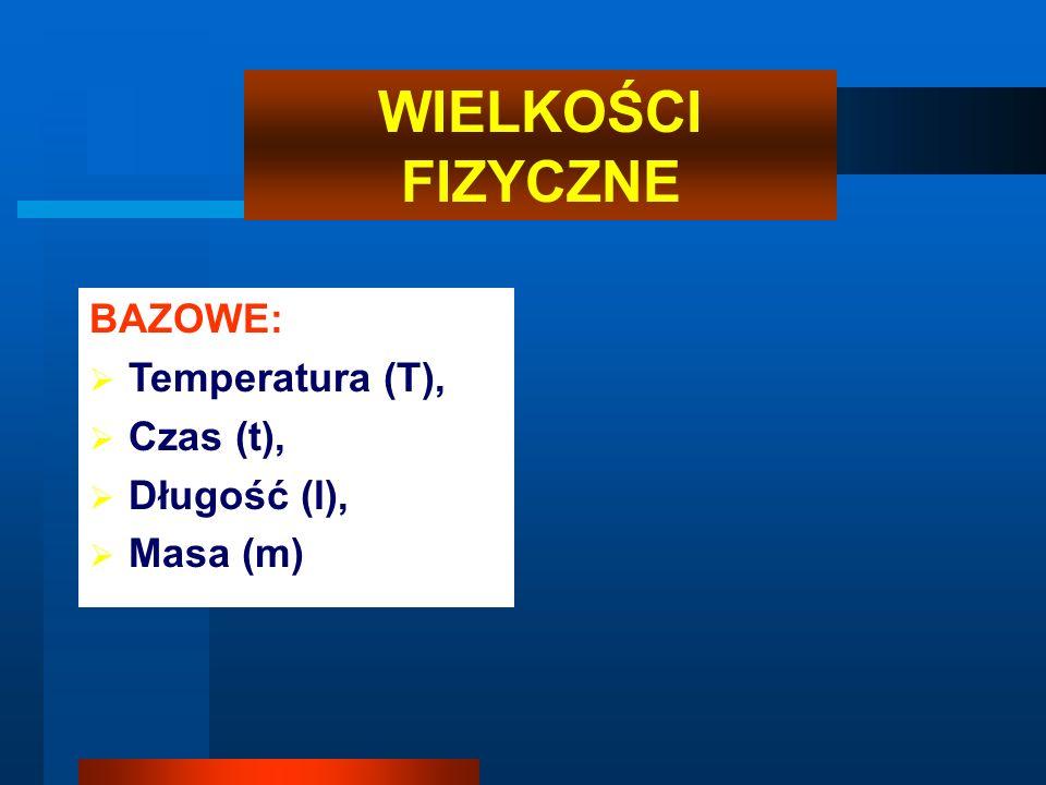 WIELKOŚCI FIZYCZNE BAZOWE: Temperatura (T), Czas (t), Długość (l), Masa (m)