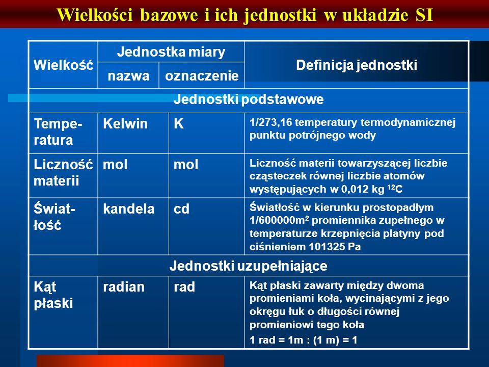 Wielkości bazowe i ich jednostki w układzie SI Wielkość Jednostka miary Definicja jednostki nazwaoznaczenie Jednostki podstawowe Tempe- ratura KelwinK