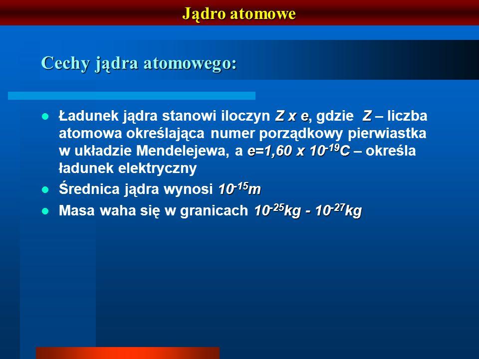 Jądro atomowe Cechy jądra atomowego: Z x eZ e=1,60 x 10 -19 C Ładunek jądra stanowi iloczyn Z x e, gdzie Z – liczba atomowa określająca numer porządko