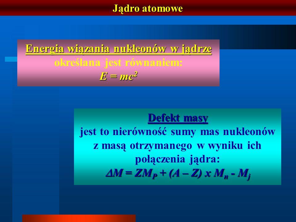 Jądro atomowe Energia wiązania nukleonów w jądrze Energia wiązania nukleonów w jądrze określana jest równaniem: E = mc 2 Defekt masy jest to nierównoś