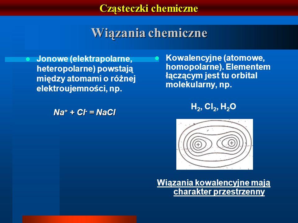 Cząsteczki chemiczne Wiązania chemiczne Jonowe (elektrapolarne, heteropolarne) powstają między atomami o różnej elektroujemności, np. Na + + Cl - = Na