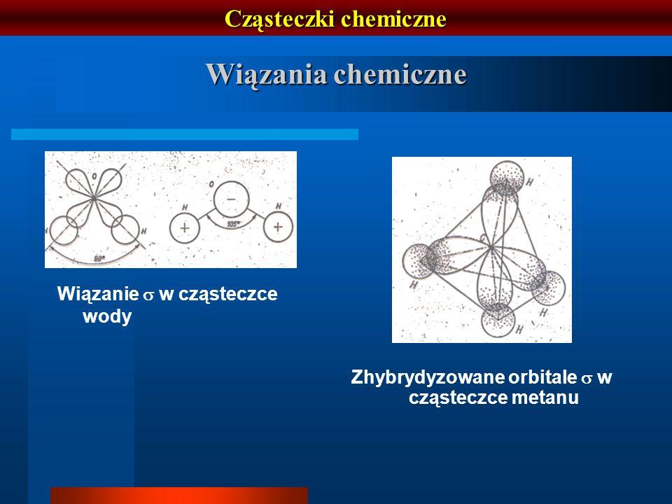 Cząsteczki chemiczne Wiązania chemiczne Wiązanie w cząsteczce wody Zhybrydyzowane orbitale w cząsteczce metanu