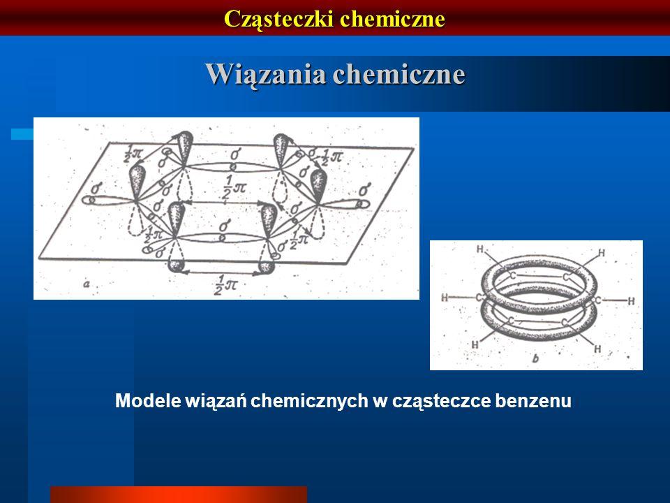 Cząsteczki chemiczne Wiązania chemiczne Modele wiązań chemicznych w cząsteczce benzenu