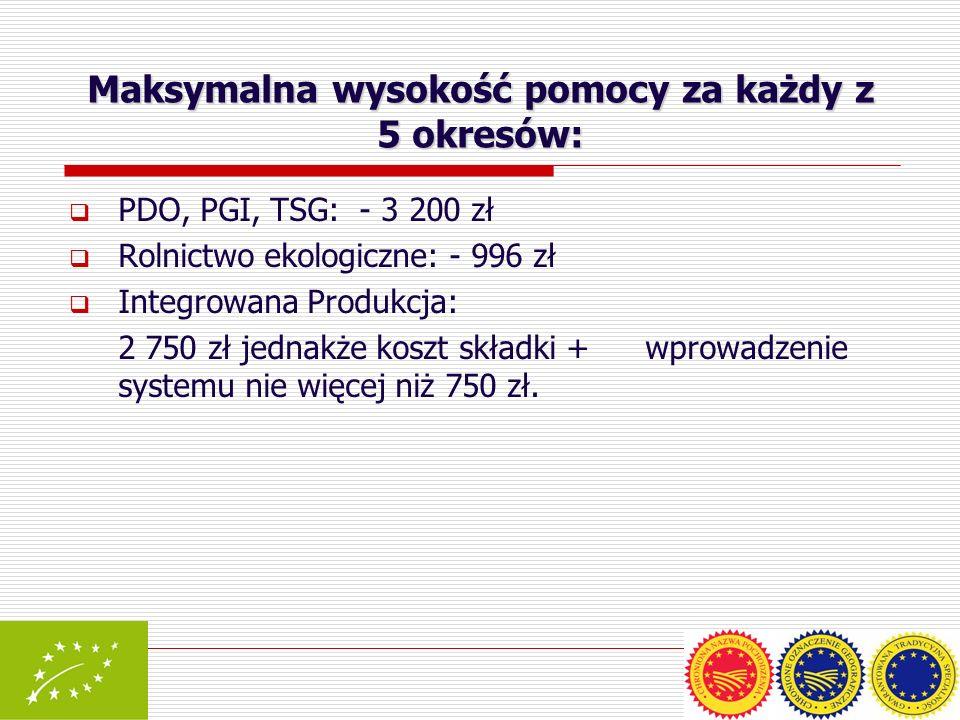 Maksymalna wysokość pomocy za każdy z 5 okresów: PDO, PGI, TSG: - 3 200 zł Rolnictwo ekologiczne: - 996 zł Integrowana Produkcja: 2 750 zł jednakże ko
