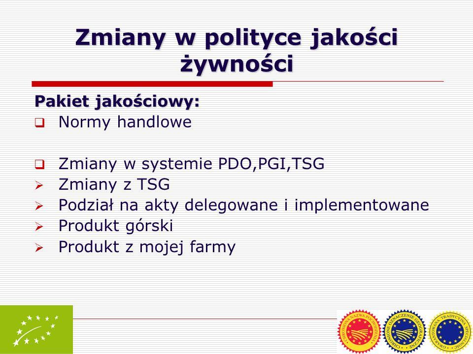 Pakiet jakościowy: Normy handlowe Zmiany w systemie PDO,PGI,TSG Zmiany z TSG Podział na akty delegowane i implementowane Produkt górski Produkt z moje