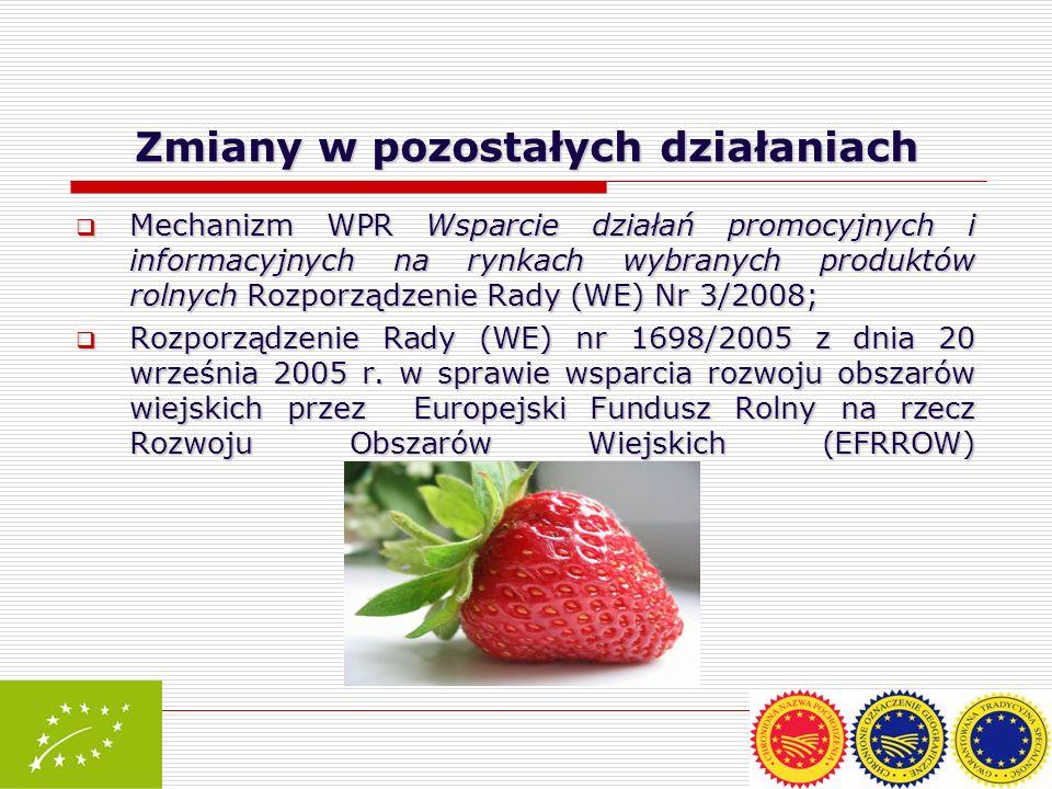 Zmiany w pozostałych działaniach Mechanizm WPR Wsparcie działań promocyjnych i informacyjnych na rynkach wybranych produktów rolnych Rozporządzenie Ra